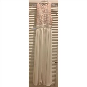 Lulu's Forever & always white lace maxi dress